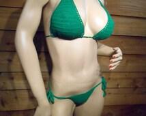 Erotic Crochet Green Thong Bikini one size ready to ship