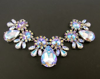 Large Rhinestone Bib Necklace Focal Point Ornate Cluster Pendant Clear Blue Pink AB Teardrop Crystal Statement Jewelry Component |LG7-8|1