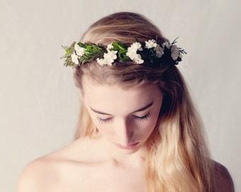Leafy woodland crown, Flower crown, Natural boho bridal hair wreath, Bridal headpiece, Wedding crown, Floral head piece, Boho woodland crown