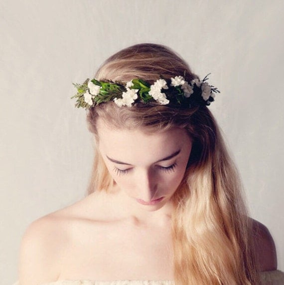 Leafy woodland crown, Flower crown, Natural boho bridal hair wreath, Bridal headpiece, Wedding crown, Floral head piece, Boho woodland crown