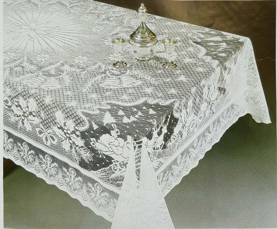 Stunning Christmas Holiday Lace Tablecloth. Light Ivory color