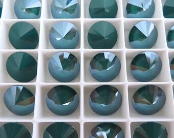 4 Royal Green Swarovski  Rivoli Stone 1122 12mm