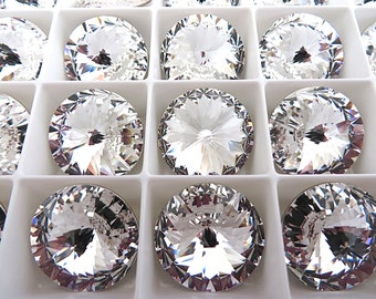 6 Clear Crystal Foiled Swarovski Rivoli Stone 1122 18mm