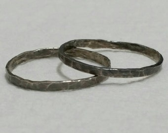 2 Silver Stacking Rings, Size 12.5 Stacking Rings, Thumb Ring, Set, Oxidized, Stackable Rings,  Stacking Ring Set  by Maggie McMane Designs