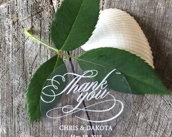 Clear Round Waterproof Mason Jar Mug or Favor Labels - White on Clear Sticker - Wedding Favor Labels - Thank You Flourish Script - Set of 50