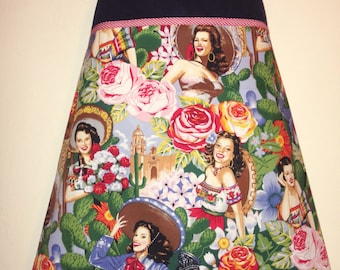 Señorita Skirt - any size, custom made to fit you, plus sizes welcome - rockabilly skirt - handmade skirt - women's aline skirt