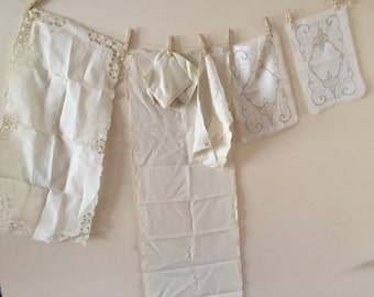 SALE- Vintage Linens Lot Vintage embroidered dresser scarves and napkins
