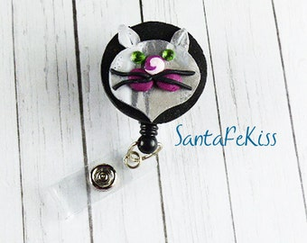 Kitty Badge Holder with Retractable Badge Reel handmade with Polymer Clay and rhinestone eyes  - for Office / Nurse / Teacher/ Coworker