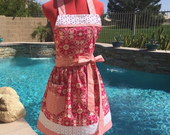 Sassy Apron with Gathered Waist and Towell Loop, Womens Misses and Plus Sizes Kitchen Aprons, Joel Dewberry Notting Hill
