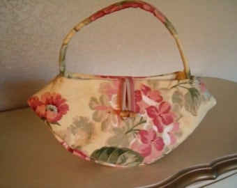 Rose Floral Purse, Yellow Floral Handbag, Cottage Rose Purse, Shabby Chic Bag