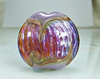 Glass Lampwork Focal Bead  Pale Purple Pink  Goldstone