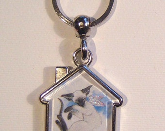 BLUEPOINT SIAMESE CAT Angel Keyring/handbag charm with print from original painting by Suzanne Le Good