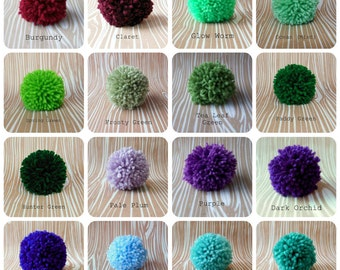 Set of 6 Yarn Pom Poms - Size Medium - 2.5 inch