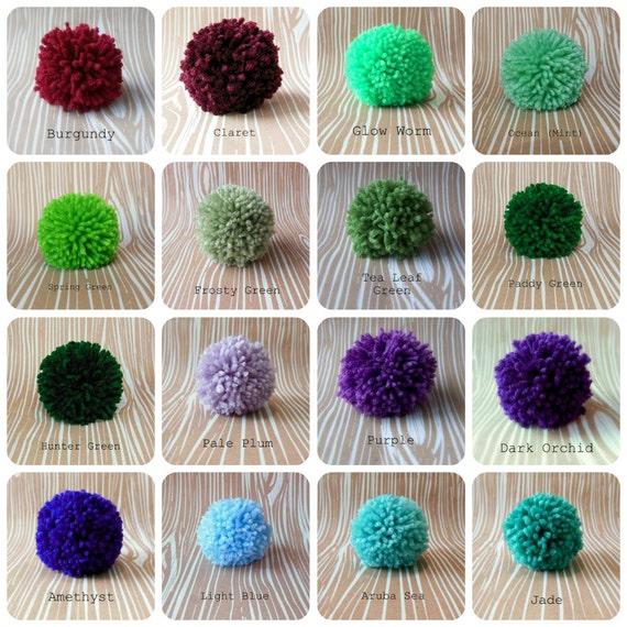 Set of 6 Yarn Pom Poms - Size Medium - 2.5 inch
