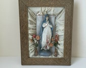 antique shrine Virgin Mary, shadow box, framed tableau, altar box, icon, Catholic