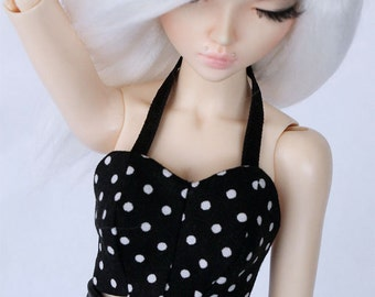 BJD clothes Slim MSD Minifee Halter top Black Polka dot Bodice corset bralet MonstroDesigns