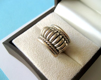Navajo Thomas Charley Sterling Silver Water Bead Ring Size 5.5