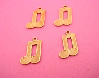 4 brass musical notes charms 16mm music song orchestra sound