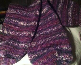 Purple Multi-Colored Self-Patterned  Wool Socks