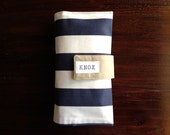 On-The-Go Diaper Clutch Navy Blue and White Striped Twill - Personalized