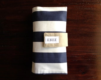 Diaper Clutch, Nappy Wallet, Navy Blue and White Striped Twill, Personalized, Monogram, On-The-Go, Baby Shower Gift