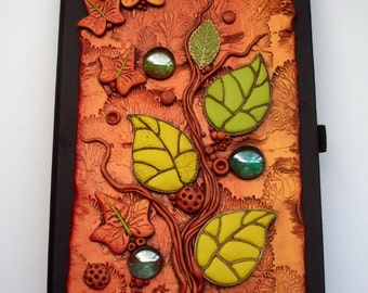 Art Journal Notebook Autumn Leaves Polymer Clay and Glass