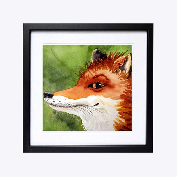 Sly Red Fox Art / Watercolor PRINT / Woodland creature / Wildlife painting / Nature animal Artwork  /Foxy fox /Color field orange green A