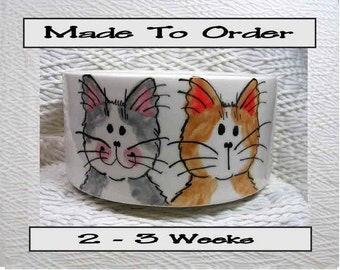 Medium Cat Bowl 2 Cats With Paw Prints Inside Handmade To Order 20 Oz. Ceramic GMS