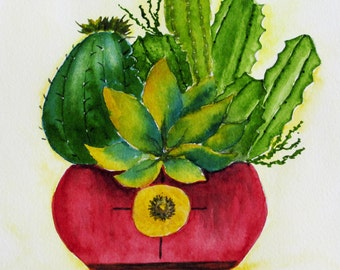 watercolor cacti in bowl, original watercolor painting, southwestern nature painting