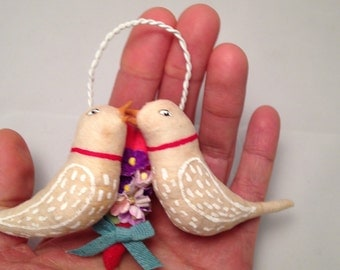 Spun Cotton Love Token birds ornament by Maria Paula
