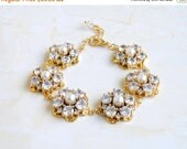 27% Off Sale Wedding Jewelry Bridal Bracelet CZ Pearl Gold Bracelet GB2G
