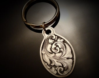 Hand Engraved Art Nouveau Inspired Stainless Steel Keychain