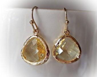 Light topaz earrings pale yellow earrings gold glass jewelry earrings small drops for women citrine glass dangle earrings bridesmaid bridal