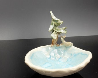 Fawn and Pine Tree Trinket bowl