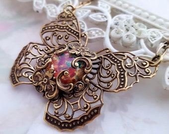 Fire Opal Butterfly necklace, glass opal necklace, filigree butterfly, Monarch butterfly jewelry, Boho antique bronze filigree jewelry, bug