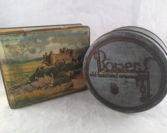 Two Vintage Metal Candy Tin Boxes