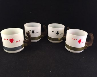 Set of 4 Vintage White Siesta Ware Coffee Mugs with Playing Card Suits