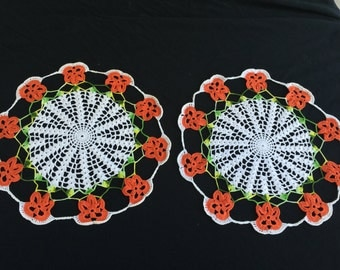 Pair of Vintage Hand Crochet White with Orange Pansies/Pansy Doilies (Doily)