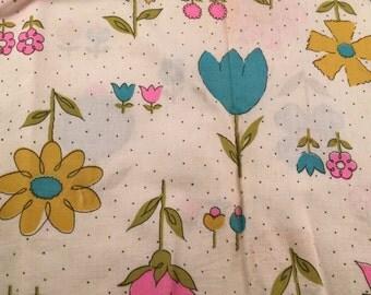 Vintage Mod Flower Power Print Feedsack or Flour Sack (No Longer a Sack)