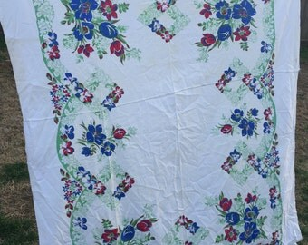 Vintage Red and Blue Floral Tablecloth