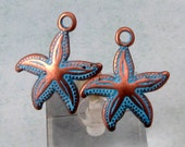 Starfish Charm, Antique Copper & Blue Patina, 2 Pieces, AC197