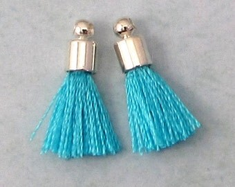 Tiny Silky Tassel Charm, Turquoise, Silver Cap, 17 MM, 2 Pieces, AS384