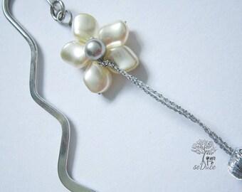 Bookmark Flora Swarovski Creamrose White Pearls Tassel