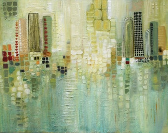 Large abstract cityscape  original painting  Soft jade Lauren Marems  textured art