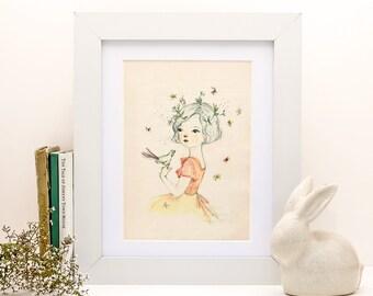 Mae - portrait - print 6x8 inches - Nursery art - Nursery decor - Kids room decor - Children's art - Children's wall art - kids wall art