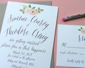 Peach Wedding Invitation | ModernInvitations |  Pink and Gray Wedding Invitations | Flowing font Invitation