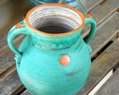 Large Turquoise and Rust Grecian Urn or Vase