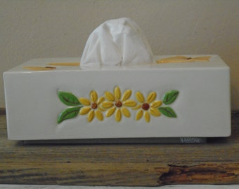 White ceramic kleenex tissue dispenser with yellow daisies and butterflies and green leaves vintage bathroom decor