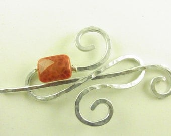 Silver Infinity Shawl Pin/Brooch/Clasp with Genuine Fire Agate
