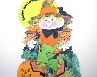Vintage Scarecrow Jack O Lantern and Black Crow Halloween Die Cut Decoration by American Greetings